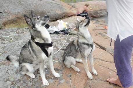 Amy och Dia på stranden